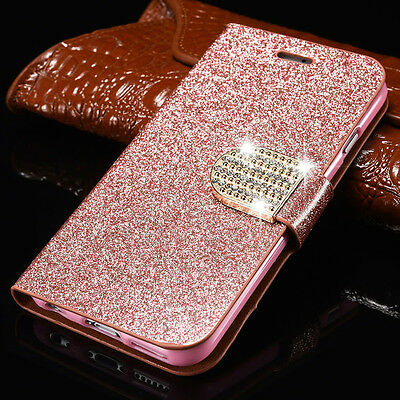 Luxury PU Leather Magnetic Flip Stand Bling Wallet Cover Case For Samsung Galaxy