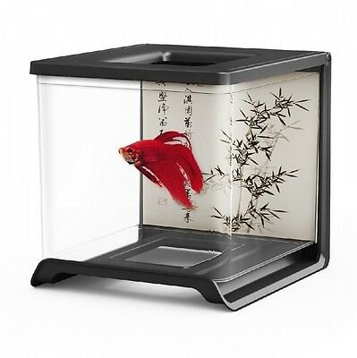 Betta Aquarium Fish Tank 1.8 L Decoration Nano Aquarium Siamese Fighting + Food