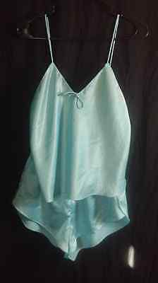 Vtg Val Mode lingerie cami camisole tap panties set sissy blue silky polyester M