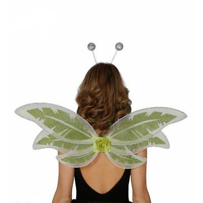 GREEN Woodland Fairy Wings Ladies Nymph Bug Fancy Dress