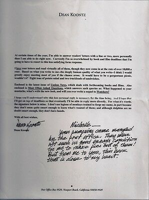 AUTOGRAPHED HAND SIGNED Letter Dean Koontz w/ personal note w/COA FREE SHIP