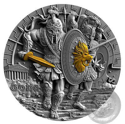 ARES GREEK GODS OF WAR 2oz silver coin ULTRA HIGH RELIEF Niue 2017