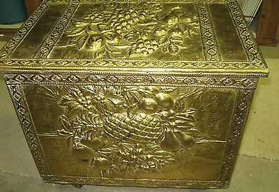 Antique English Colonial Wood Brass Embossed Coal Wood Kindling Bin Box Wheeled