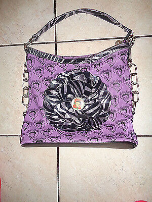 "Betty Boop Extra Large Purple Purse Highest Quality New Retired 14""X13"""