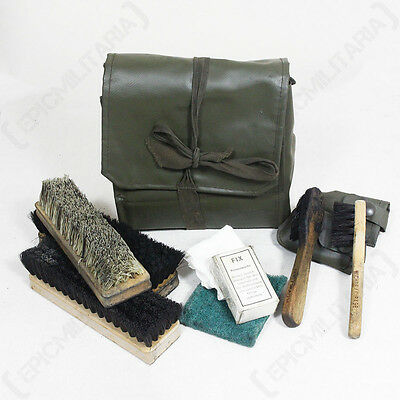 ORIGINAL SWISS BOOT CLEANING KIT - Issued Army Military Surplus Shoe Travel Bag