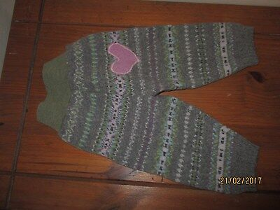 Medium wool soaker longies. Handmade. Heart design.