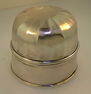 Art Deco Birks Sterling Silver Ribbed Domed Bell Shape Ring Box