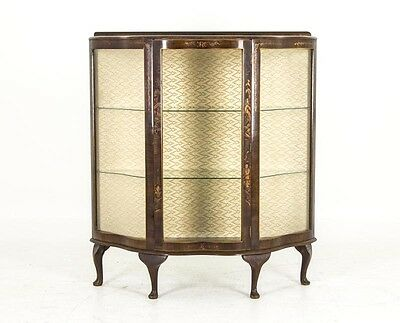 B477 Art Deco Burled Walnut China, Curio Display, Cabinet with Printed Front