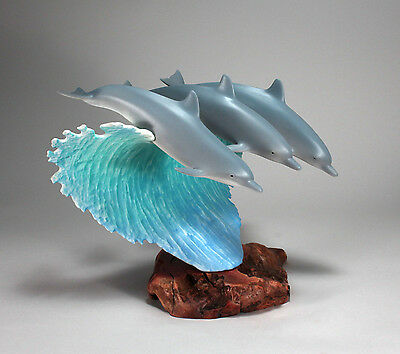 SURFING DOLPHINS Sculpture from JOHN PERRY 12in high Airbrushed dolphins Statue