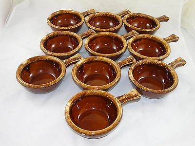 Ten (10) Vintage Hull Pottery Brown Drip Glaze Cereal Onion Soup Bowls Handles