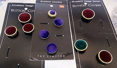 10 PC Vintage Button Covers On Cards Maroon Purple Crushed Velvet Gold Tone Trim