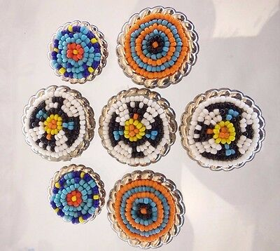7 PC Lot Round Vintage Silver Toned Button Covers Beaded Multicolor