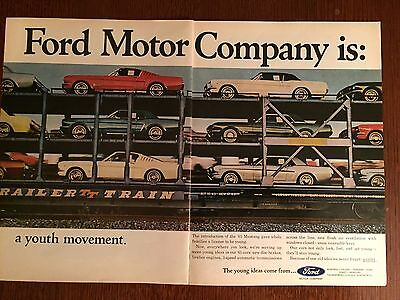 1965 Ford Mustang Original Print Ad-Stangs On A Train - 2 Page-8.5 x 10.5""