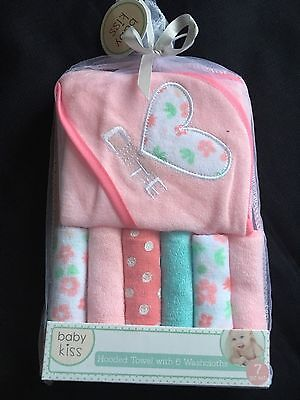 Baby Kiss Hooded Towel & 6 Washcloth Gift Set Girls Pink Bath Shower Cutie