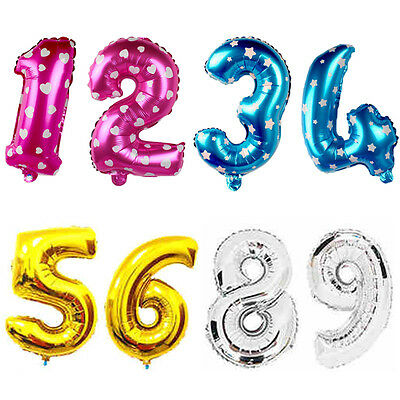 """16"""" Cute Silver Numbers Letters Foil Balloons Birthday Decoration Ballon"""