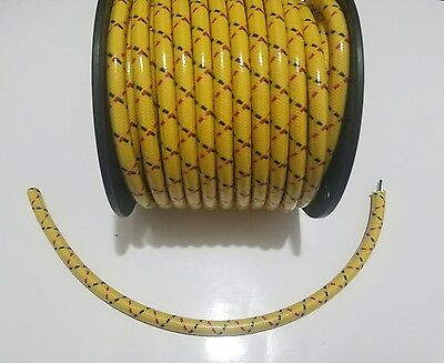 8mm SUPPRESSION CORE BRAIDED CLOTH Yellow with Black Red tracers SPARK PLUG WIRE