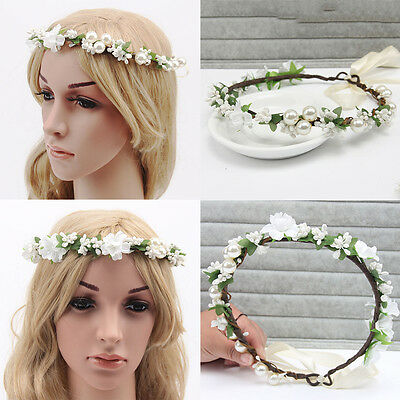 Girl Accessories Headband Halo Hair Band Wreath Flower Crown Baby White Floral