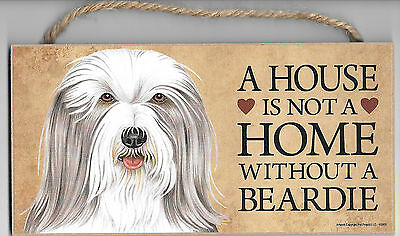 A house is not a home without a Beardie Dog Wood Sign Plaque USA Made NEW
