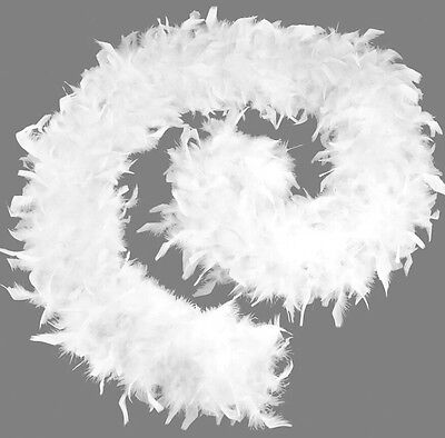 Women's Feather Boa 80 Grams White Budget Hen Night Girls Fancy Dress Accessory