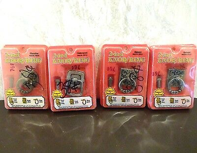Vintage Lot of 4 Assorted 3-in-1 Knob/Ring 2 Match Cabinet Drawer Pulls Knobs