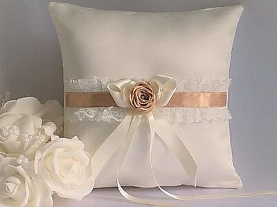 WEDDING RING CUSHION/PILLOW. White/Ivory satin, ribbons,lace & fabric rose