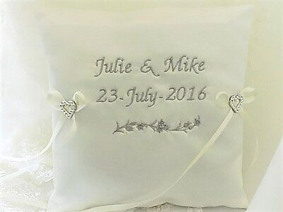 PERSONALISED WEDDING RING CUSHION/PILLOW. White/Ivory satin & 19 letter colours