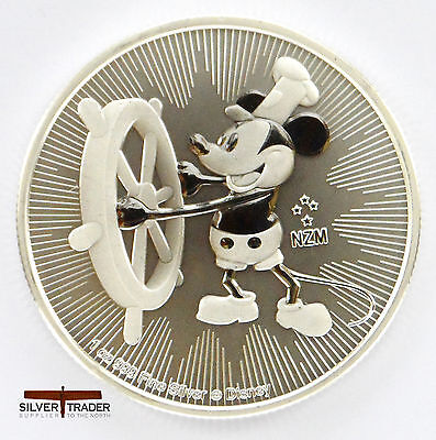 2017 1oz Steamboat Willie Silver New Zealand 1 ounce Silver Bullion Coin unc: