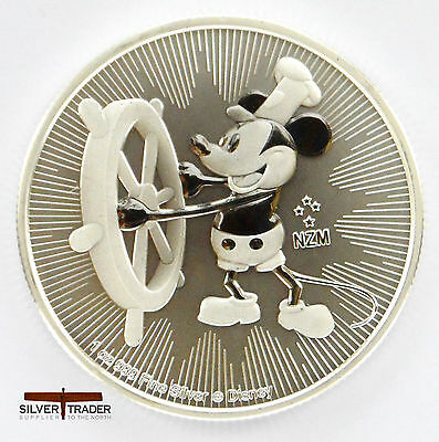 2017 New Zealand Steamboat Willie 1 ounce silver Bullion Coin