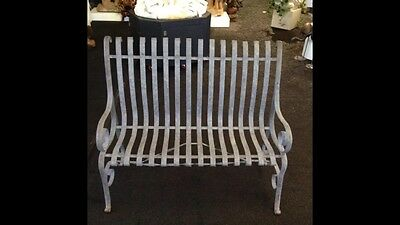 Antique American Scroll Form Garden Bench