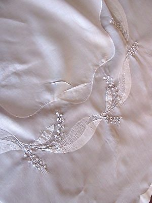 "Vintage Sheer Embroidered Lily of the Valley Applique Tablecloth 43"" Whitework"