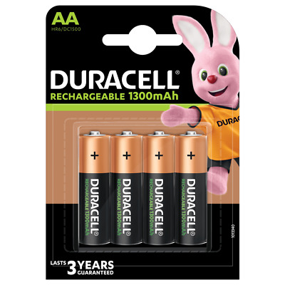 4 x Duracell AA 1300 mAh NiMH 1.2V Stay Charged Rechargeable Batteries HR6 PHONE