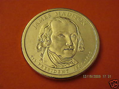 2007-P  BU Mint State (James Madison) US  Presidential One Dollar Coin