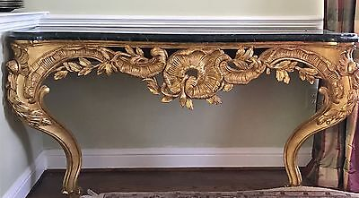 Gold Leaf and marble Console by designer J Robert Scott