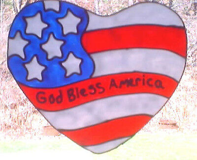 God Bless America Heart Faux Stained Glass Window Cling