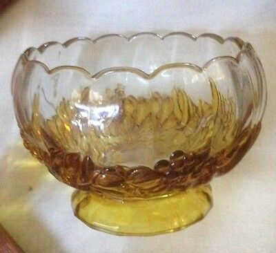 Crystal Footed, Amber Orange Grape Decoration Fruit Salad, Dessert Bowl Vintage