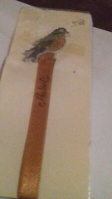 Plastic bookmark. Bird. Ribbon. Aubets.