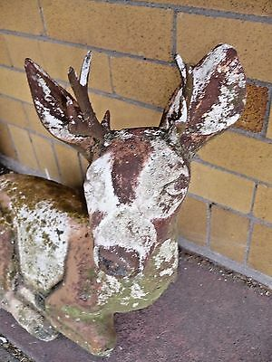 Vtg Antique Deer Stag W Horns  Garden Ornament Painted Aged Concrete & Chalk?