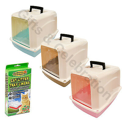 Potable Cat toilet hooded litter box with carry handle and tray with 2 way swing