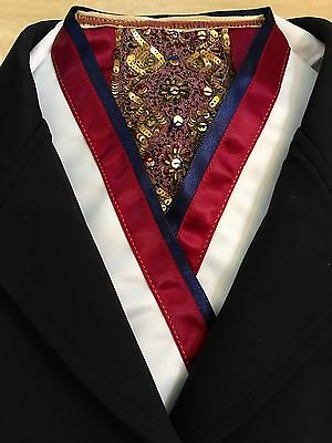 Equestrian Show Stock Tie, White Satin, Burgandy/Navy/Gold, Quick On/Off.