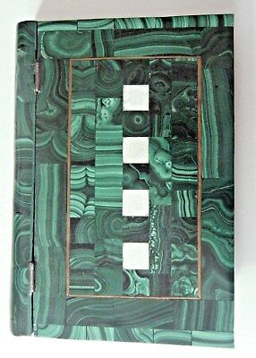 Very Unique Solid Green Malachite Stone Book-Brass Inlay- With 24 Rocks - Congo