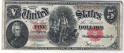 1907 $5 United States Note Woodchopper Fr. 85 Napier McClung VF Very Fine Net