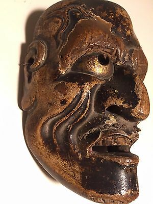 "Antique, Edo-Era (1603-1868), Wooden, Japanese, Mask w/Brass, Patina, ""Netsuke"""