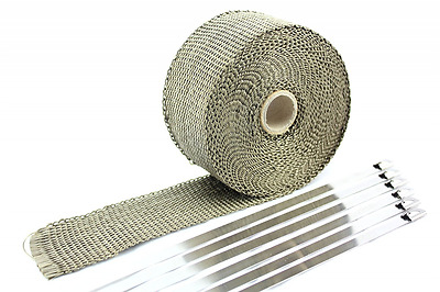 "SWI Parts 2""X25ft LAVA Titanium Pipe Insulation Wrap Heat Exhaust Wrap W/6 Stain"