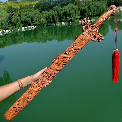 28 inches wooden carved sword peach wood dragon decor shower Christmas gift