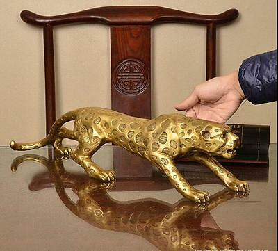13 inches Art Deco pure brass copper statue lucky panther leopard