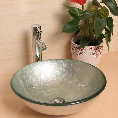 Bathroom Vessel Sink Drain Faucet Tempered Glass Vanity Combo Basin Bowl Round
