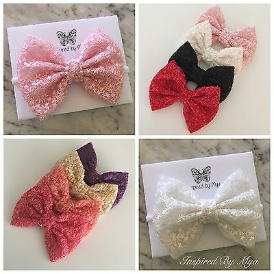 Newborn Baby Toddler Girls Big Bow Fabric Headband Nylon Hair Band Accessories