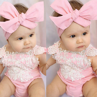 US Stock Baby Girl Romper Bodysuit Lace Floral Jumpsuit Headband Outfits Sunsuit