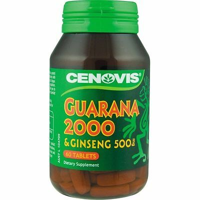 Cenovis Guarana 2000Mg & Ginseng 500Mg 60 Tablets Fatigue Relief Supplement