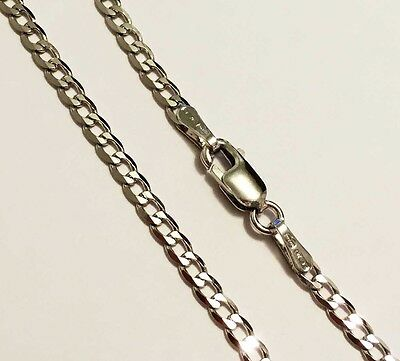 """10k solid white gold(2.2mm)Curb chain(16""""/18""""/20""""/22""""/24"""")"""